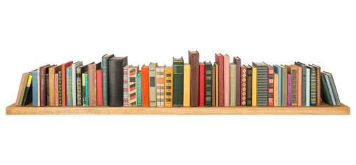 Books on the shelf, isolated.