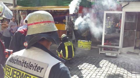 Die Feuerwehr bei der Kaffeerösterei om Carlsplatz. Foto: thenewshunter