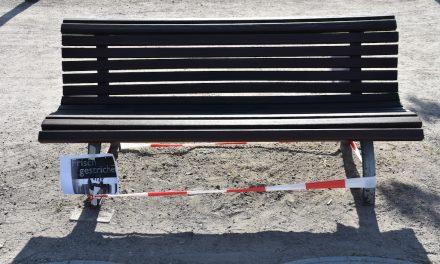 Frisch gestrichen: Die Bänke an der Rheinpromenade