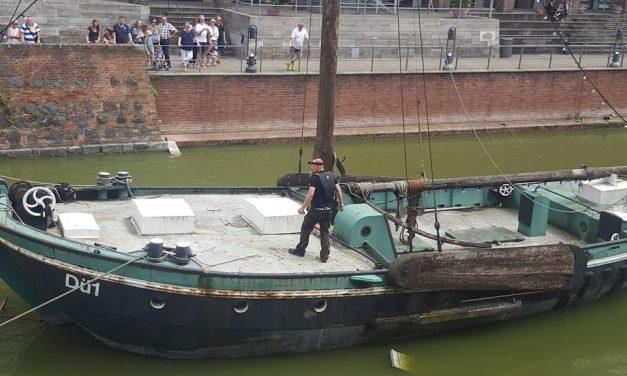 Gänsefamilie auf historischem Schiff gefangen