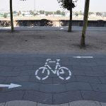 Neue Markierung für Radweg am Rheinufer