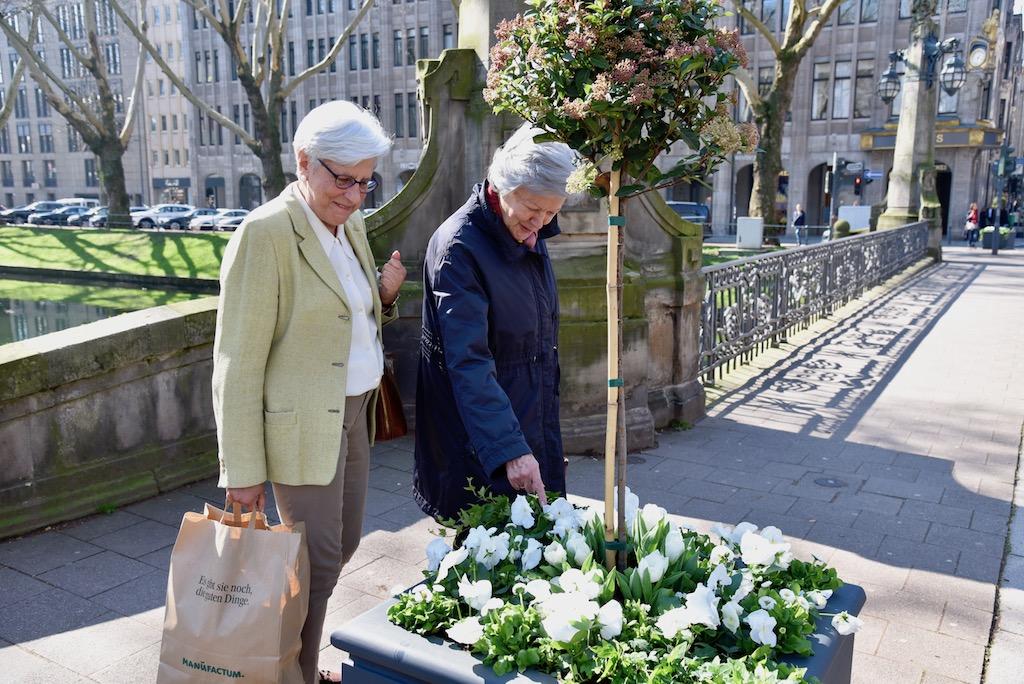 Kö Besucher beim Betrachen der Blumen Foto: LOKALBÜRO
