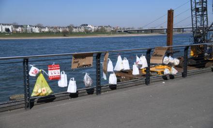 Gabenzaun an der Rheinuferpromenade
