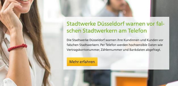 Stadtwerke Düsseldorf warnen vor falschen Stadtwerkern am Telefon