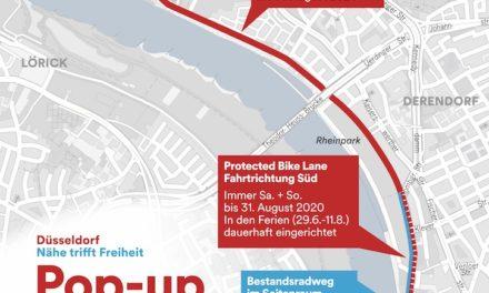 Erster Pop-up-Radweg in Düsseldorf eröffnet
