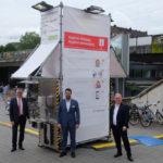 Düsseldorf Arcaden, Stadtwerke und Rheinbahn stellen dritten Hygienetower an den Arcarden auf