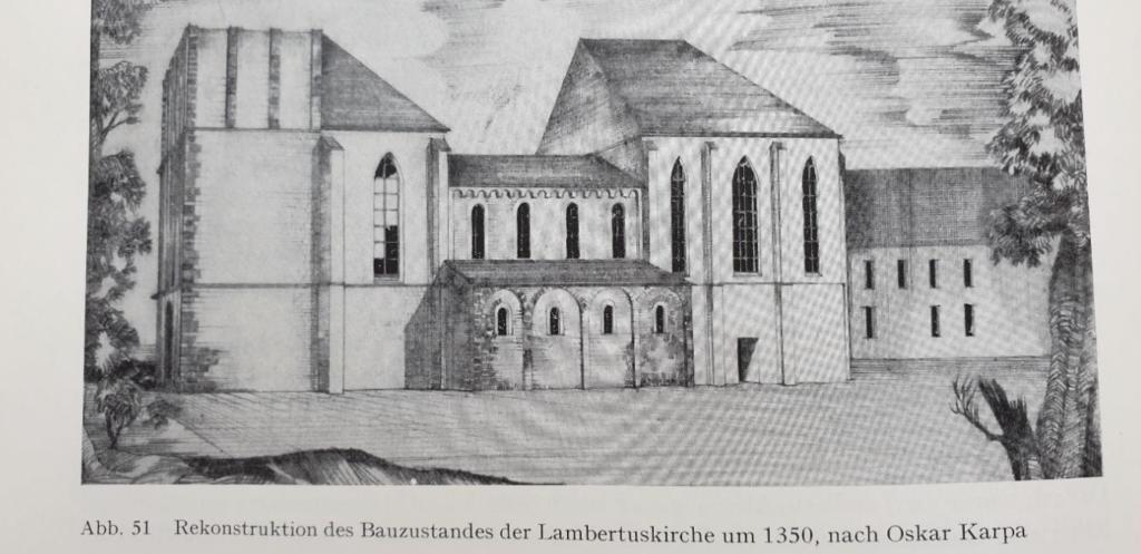 Bild (Rekonstruktion) aus: Die Stifts- und Pfarrkirche St. Lambertus zu Düsseldorf, in: Rheinisches Bilderbuch zu Düsseldorf, hrsg. von der Landesbildstelle Niederrhein, Ratingen 1956; S. 82