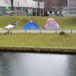 Brand eines Zeltes eines Obdachlosen