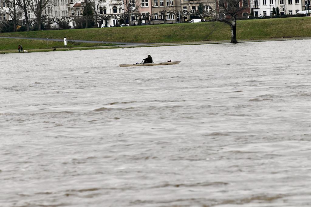 Ein einsamer Ruder auf dem Rhein Foto: LOKALBÜRO
