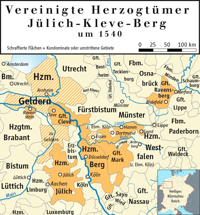 Ziegelbrenner., Karte der Vereinigten Herzogtümer Jülich-Kleve-Berg (1540), CC BY-SA 3.0