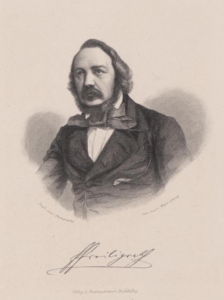 Ferdinand Freiligrath, Lithographie von August Weger, Leipzig, etwa um 1850,(c)Heinrich-Heine-Institut