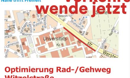 Optimierung des Rad- und Gehwegs entlang der Witzelstraße