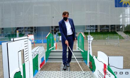 Blindenleitsystem-Parcours zum Tag der Inklusion