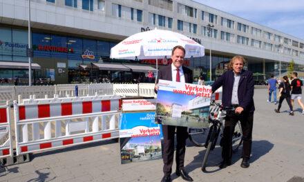Start der Bauarbeiten zum Fahrradparkturm am Bahnhof Bilk